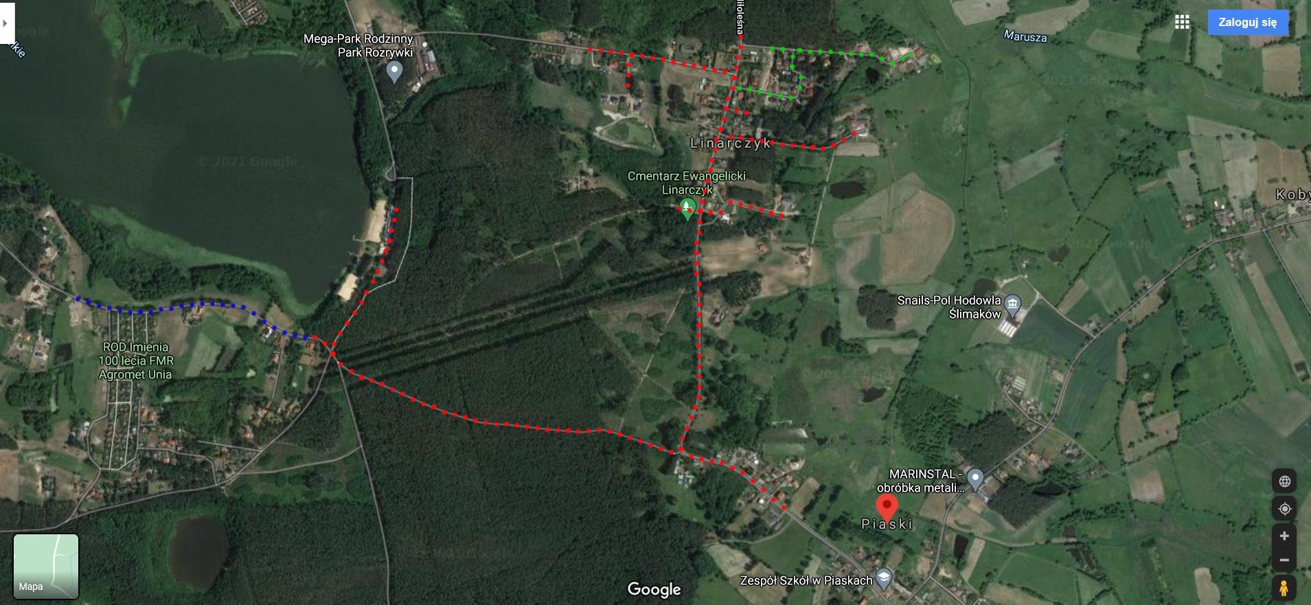 poglądowy schemat przebiegu sieci kanalizacyjnej Piaski-Linarczyk