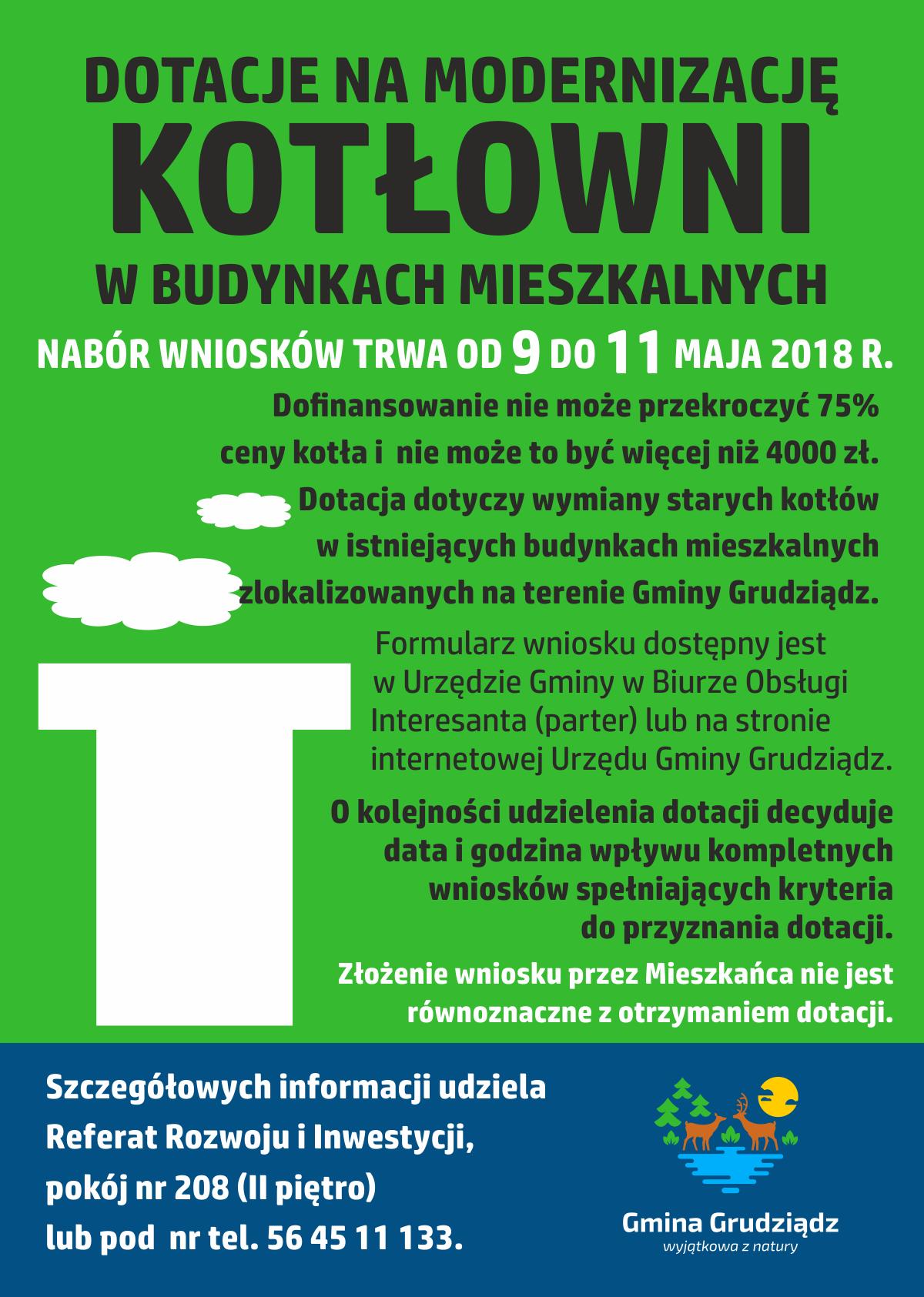 Plakat z informcją o dotacji na modernizajcę kotłowni